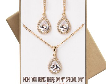 Mother of the bride/ groom Jewelry Set Necklace and earrings gift set wedding jewelry gift set bridal party wedding jewelry N519-GD