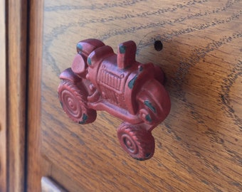 Red distressed tractor knob drawer pull, set of 2