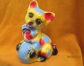 Vintage 1940's Carnival Chalkware Cat Figurine