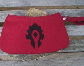 World of Warcraft Horde Wristlet - WoW Warcraft Clutch Handbag Purse - Halloween Orc Troll Blood Elf- Swoon Coraline