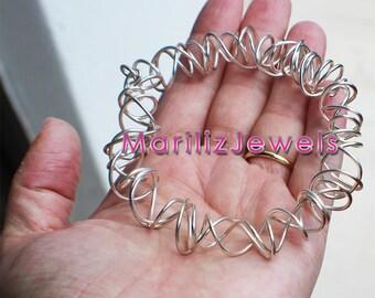 Handmade sterling silver wire bracelet - unique piece