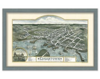 Edgartown, Martha's Vineyard Birds Eye View 1886 Colored Reproduction