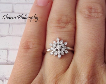 Snowflake Ring - Cubic Zirconia Snowflake Jewelry - Sizes 5-9 - 925 Sterling Silver Jewelry