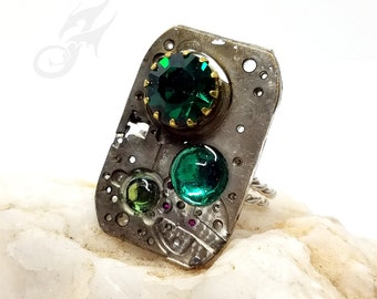 Size 6 to 8 Steampunk Ring, Watch Movement Plate w/ Three Shades of Green Rhinestones ~ Handmade Sterling Silver Adjustable Band ~ #R0102