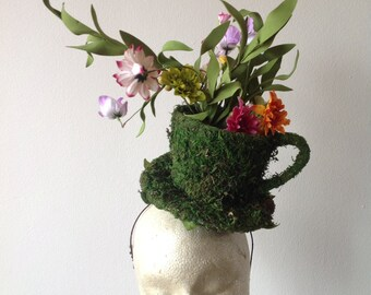 Horse race fascinator- Mad hatter Fascinator- Derby-  Tea cup headband- Floral fascinator- Headdress New York- Derby- Fascinator- Green