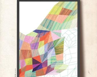Geometric print, Geometric art. Poster print A3, Abstract Wall Art, Precious Stone Net. Modern Poster, Geometric Art Print, TANGRAMartworks