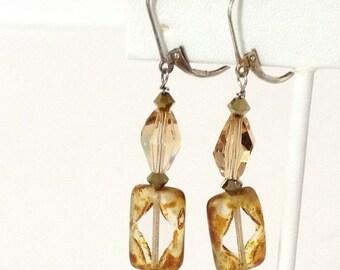 Lt Brown & Frosted Window Glass Dangle Earrings 925 Sterlling Silver gw16-238