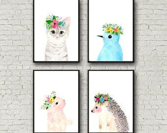 My Friends print set, Nursery Art Collection, Set of 4 Prints, bird,hedgehog,cat, rabbit, woodland nursery set, kids posters,
