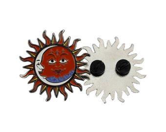 Sun & Moon Boho Enamel Pin