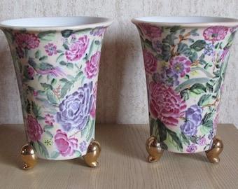 Pair of floral ceramic vases