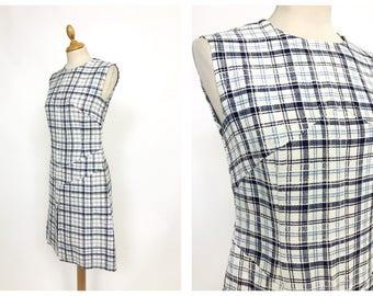Vintage 1960s 1970s white and blue tartan print mod day dress - size S