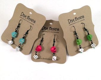 Skeleton Earrings with Dice // Valentine Gift // Rockabilly skulls // Gothic Lolita