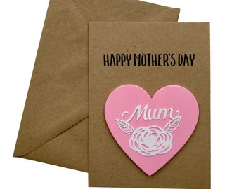 Mothers Day Card, Mothers Day Gift, Personalised Mum Card, Card for Mum, Mother's Day magnet, heart magnet, mum gift, personalised card