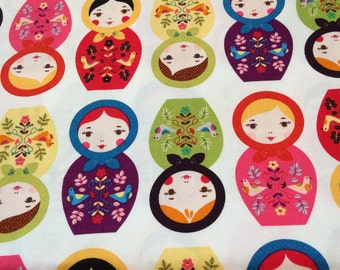 Little Kukla Russian dolls fabric in Bright by Robert Kaufman