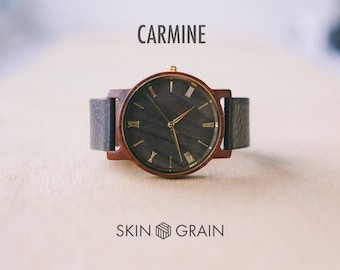 Wooden Watch, Engraved Watch, Wood Watch, Wood Watch men, Mens wood Watch, Wooden Watches for men, Engraved Wooden Watch, Watch, Carmine
