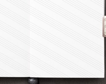 Traveller's Notebook LEFT Handed Diagonal Music Inserts - PASSPORT size Midori style printable. Diagonally lined notepaper for lefties.
