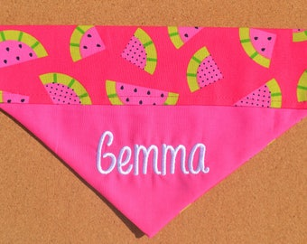 Pink Watermelon ~ Personalized/Reversible ~ Over The Collar Dog Bandana