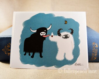 Yak and Yeti Share an Ice Cream - Blank Illustrated Greeting Card