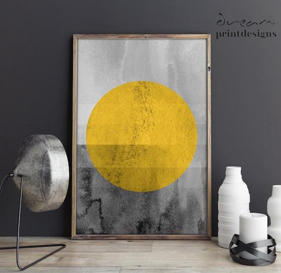 Printable Scandinavian Print Scandinavian Poster Yellow Grey