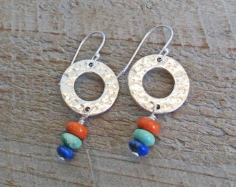 Sterling Silver Circle Blue Lapis Green Turquoise Orange Coral Gemstone Earrings