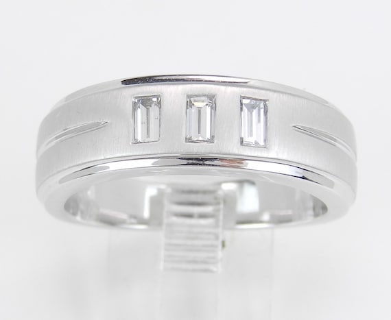 Men's Diamond Wedding Ring 3 Stone Anniversary Band 14K White Gold Size 9 F VS