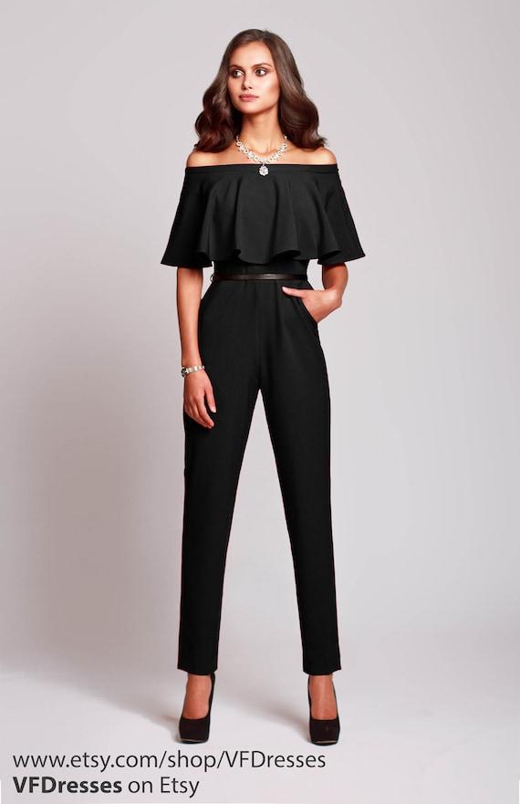 black jumpsuit womens jumpsuit wedding jumpsuit festive. Black Bedroom Furniture Sets. Home Design Ideas