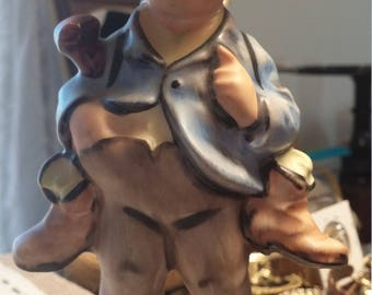 Vintage Friedel Germany Handgamelt  Boy with Boots and Walking Stick Figurine