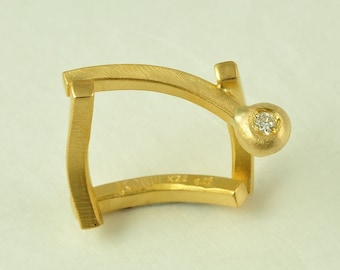 22K Solid Gold Handmade Ring with Diamond, No.056-62