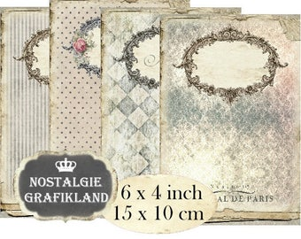 Journal Covers printable Display Cards Vintage Papers Frames Background Ornament Album 6x4 inch Instant Download digital collage sheet D151