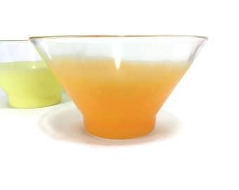 Vintage Mid Century Blendo Punch or Chip Bowl * Frosted Orange