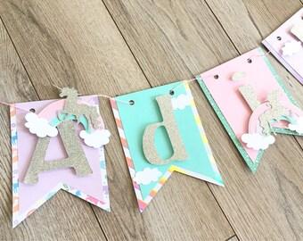 Unicorn name banner, rainbow name banner, unicorn birthday banner, unicorn party decorations, unicorn happy birthday banner