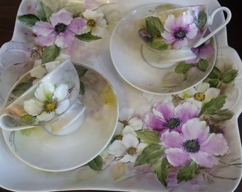 Service from the for two people in porcelain hand painted