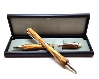 Zebrawood Pen and Pencil Set - Slimline Style with Silver Finish