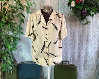 Vintage 80s Ivory Black Blouse Collar Button down Shirt size Medium