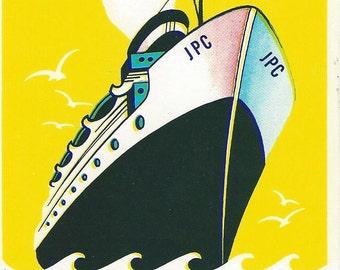 Vintage Cruise Liner Broom Label, 1950s
