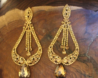 extra long gold chandelier earrings, extra large pageant earrings, gold earrings, gold chandelier earrings, gold clip on earrings