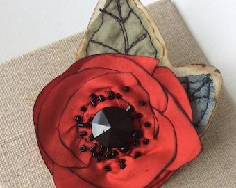 Silk Poppy Flower Brooch in Red