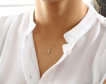 Tiny Diamond Cross Necklace/  14k gold diamond cross necklace/ Diamond Cross Pendant/ Mini Cross White Diamond Necklace / Communion Gift