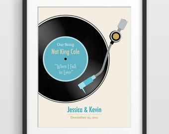 Personalized Wedding Gift, Personalized Anniversary Gift, Paper Anniversary, 1st Anniversary, Wedding Song, First Dance