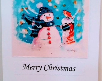 Snowman in a Storm Christmas Card