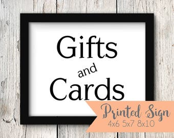 Wedding Gifts & Cards Table Sign, Wedding Reception Gifts and Cards Sign, Printed Wedding Gifts and Cards Sign 4X6, 5x7, or 8x10 (S004-PR)