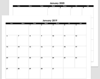 2018, 2019, 2020, 2018/2019 or 2019/2020  24-Month Calendar – letter size 8 1/2″ x 11″