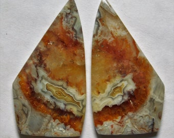 51.75 Cts Natural Crazy Lace Agate (43mm X 22mm each) Loose Cabochon Match Pair