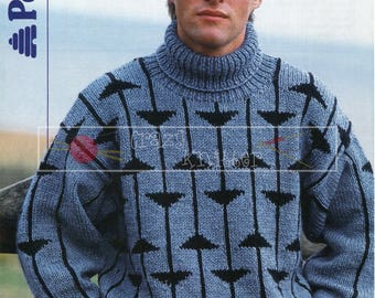 Men's Motif Sweater 32-44in Chunky Patons 8624 Vintage Knitting Pattern PDF instant download