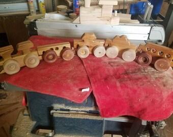 Handmade Wooden Train Set Child Toddler Toy