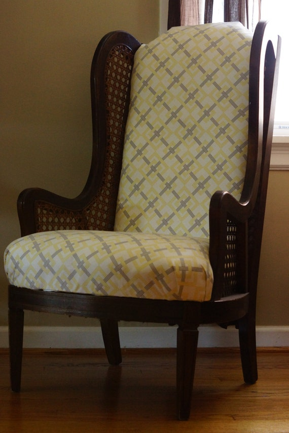 Items Similar To Vintage Lewittes High Back Wingback Chair With Caning On  Etsy