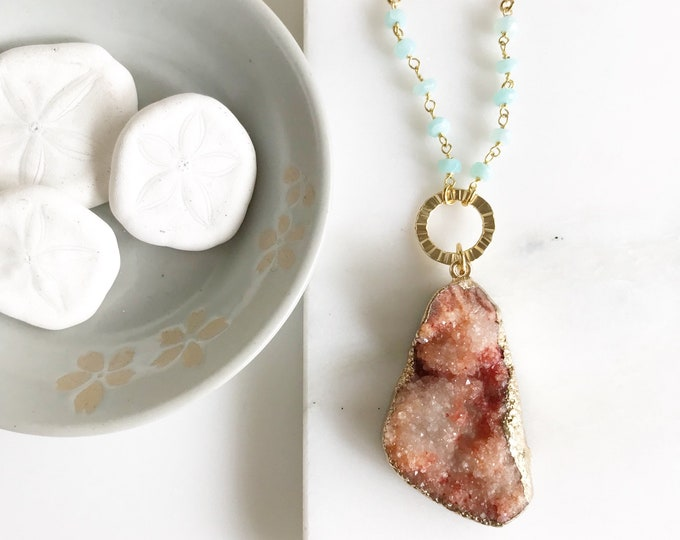Orange Druzy Raw Stone Necklace. Layering Necklace. Long Orange Stone Necklace. Beaded Necklace. Boho Jewelry. Pendant. Gift.