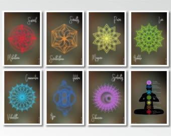 Yoga Décor Seven Chakras Meditation, Chakra Art Printable 7 Chakras Décor Yoga Studio Gift, Chakra Decor Digital Download