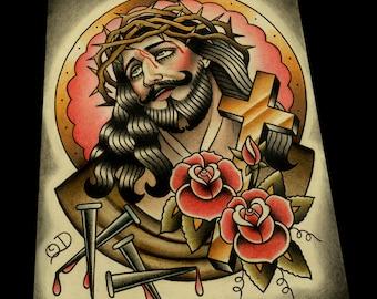 Classic Jesus Color Tattoo Flash