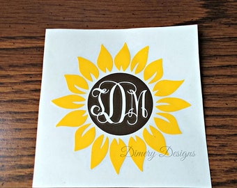 Sunflower decal with monogram initials / monogram sticker for car laptop yeti cup rtic orca ozark trail tumbler water bottle
